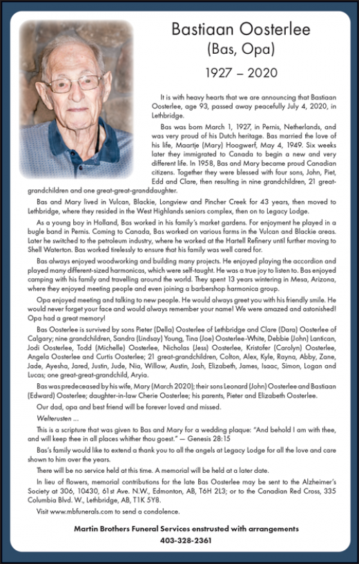 Obituary for Bastiaan Oosterlee