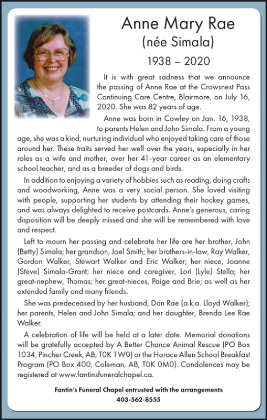 Obituary for Anne Rae