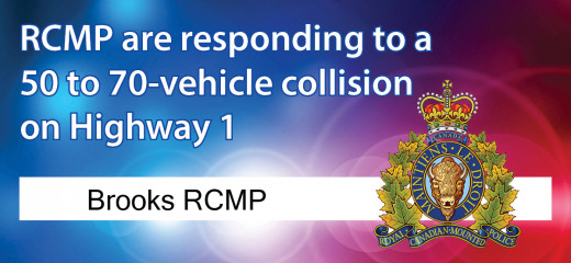 About 70 vehicles involved in collision near Brooks